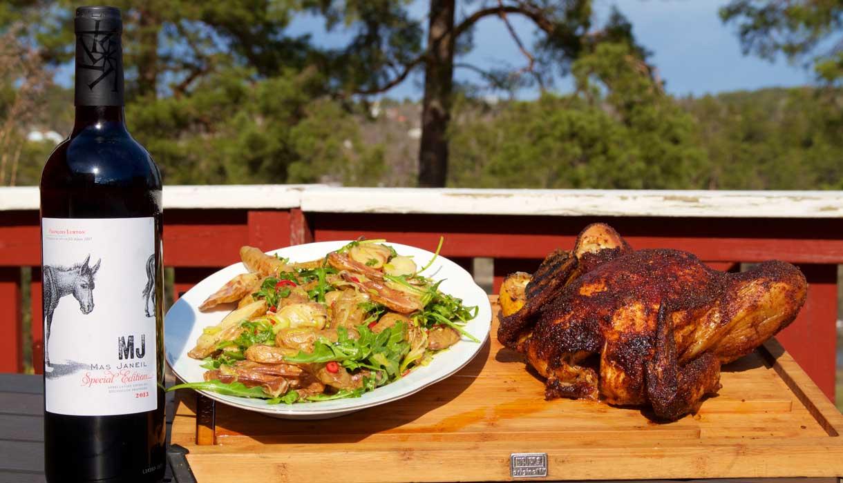 BBQ grillad Majskyckling med Grillad fransk potatissallad